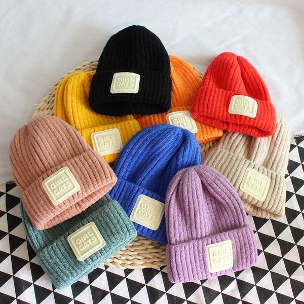 Ins Sonbahar Kış Çocuk Bebek Kız Erkek Şapka Şeker Renk Çocuklar Örme Kasketleri Kafatası Kapaklar Çocuk Sıcak Şapkalar M201
