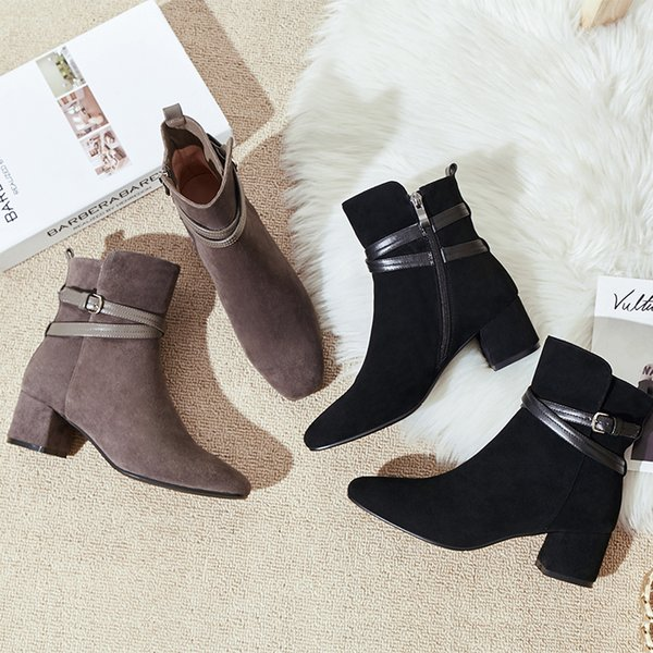 Magical2019 Coarse Matting Black Small Short Square With Woman Martin All-match Boots