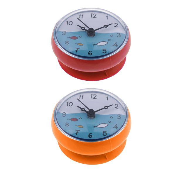 top popular 2-PACK Bathroom Clock Waterproof Kitchen Mini Bath Wall Clock Time Display 2021
