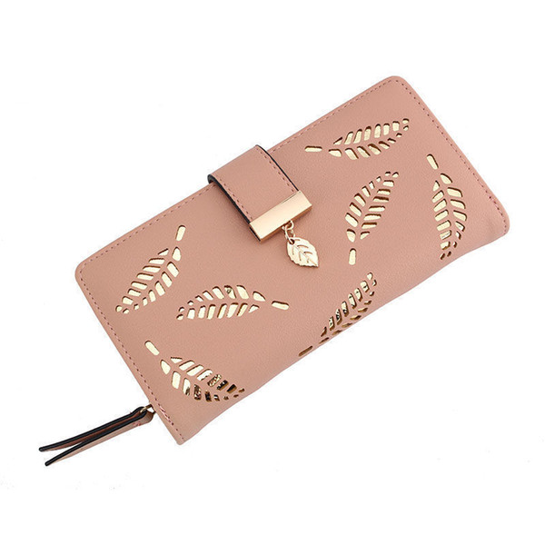 feaa624c8e38 Goood Quality 2019 Women Wallet Female Long Purse Gold Hollow Leaves Pouch  Handbag Lady Coin Purse Card Holders Portefeuille Femme Cool Wallets Front  ...