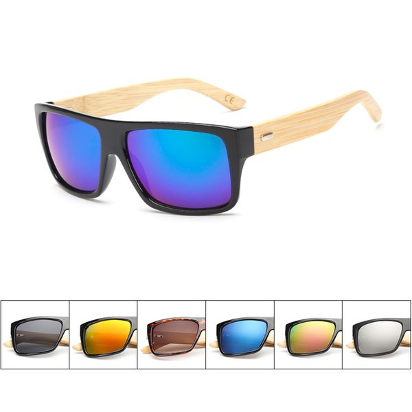 Unisex 2019 Brand Designer Sunglasses Men Women Wooden Sun Glasses Retro Vintage Square Frame Mirror Sunglasses Luxury Glass