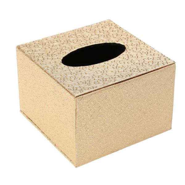 1 pc Desktop Tissue Box Durable Leather Retro Wooden Square Paper Holder Napkin Case for Car Restaurant Home Office
