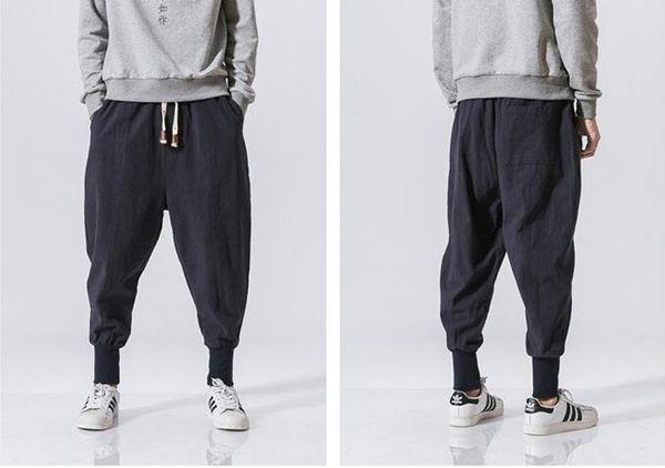 Nouveau Magasin Japonais Casual Coton Linge Pantalon Mâle Harem Pant Hommes Cheville Banded Jogger Pant Chinois Traditionnel Vêtement
