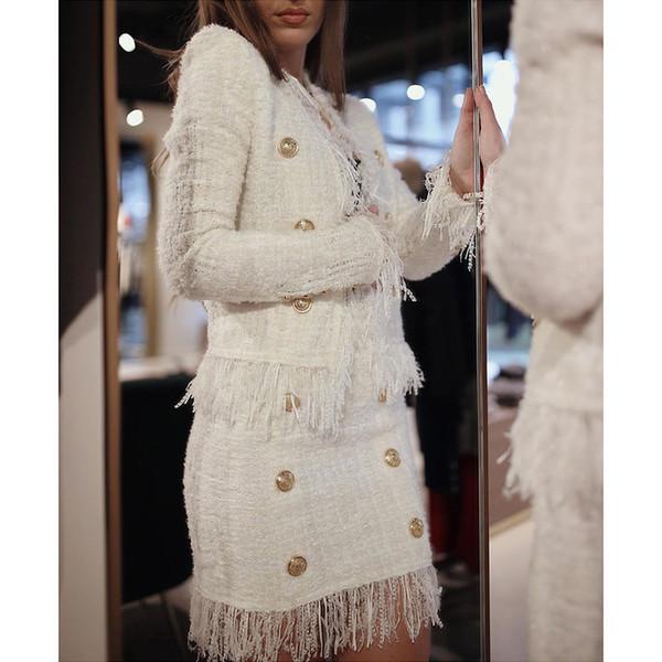 2019 neue Herbst Stil weiße Farbe Frauen Langarm Doppel-Taste dünner Mantel Quaste Mode Jacke Top-Qualität