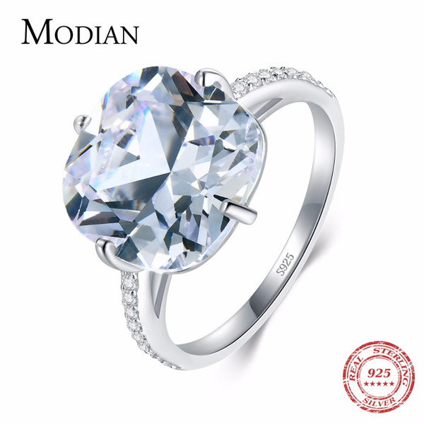 Modian 925 Sterling Silver Ring The pigeon Egg Cubic Zirconia Fashion Luxury Wedding Band Anniversary Jewelry For Women Gift