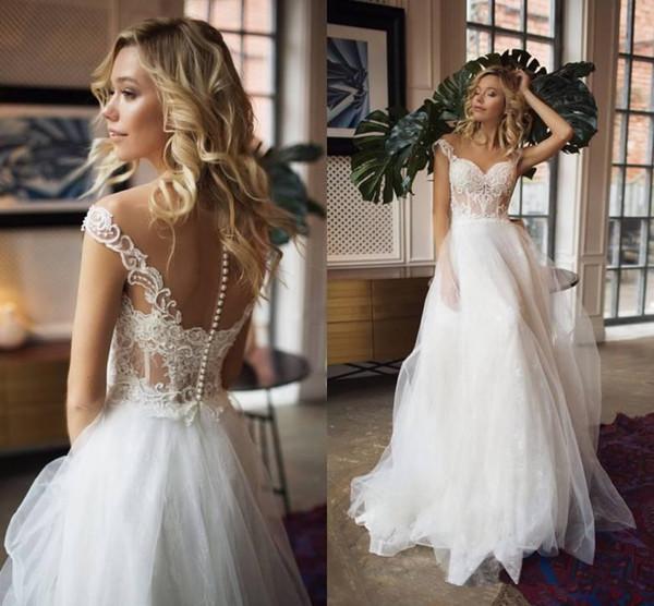 Sheer Neck Bohemian Wedding Dresses A Line Cap Sleeve Lace Applique Beaded Beach Bridal Gowns Custom Made