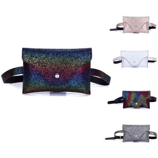 Fashion waist bag Women shiny Sequins Leather Messenger belt Bag super quality Fanny Pack For Women