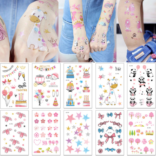 Cute Cartoon Pink Series Temporary Body Tattoo Sticker Newborn Kids Happy Birthday Party Gift Tattoo Lovely Arm Neck Leg Art Decal Tattoo 3D