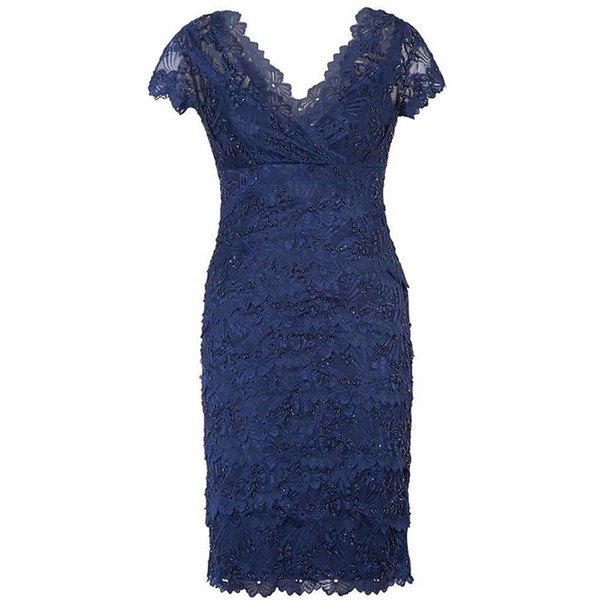 Beaded Knee Length Vintage Short Sleeve Backless Sequined Dark Navy Blue V Neck Sheath Lace Mother Of the Bride Dresses Formal Party Gowns