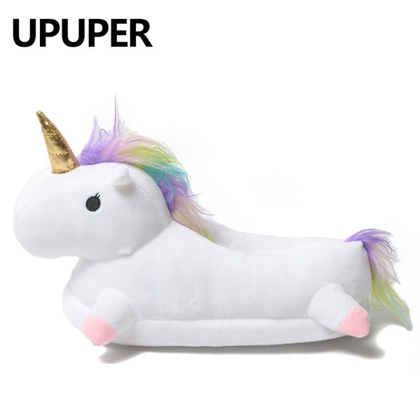 top popular 2018 Winter Lovely Home Slippers Chausson Licorne White Shoes Women Unicorn Slippers Animals Pantuflas Unicornio Pantoufle Femme T8190701 2020