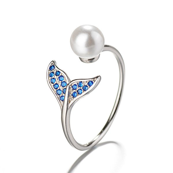 925 Sterling Silver CZ Zircon Mermaid Tail Open Size Rings For Women Wedding Engagement Gifts Pearl Adjustable Statement Ring