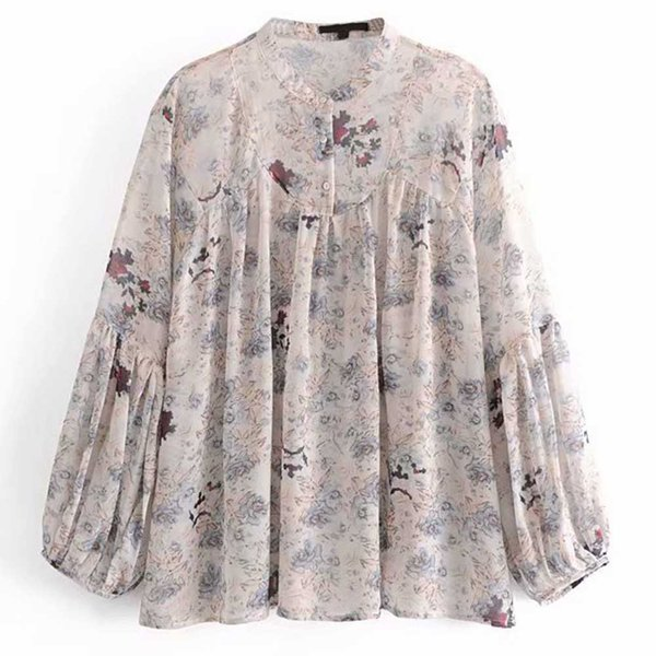 FIRSTTO 2019 Fashion Floral Print O-Neck Pullover Smock Chiffon Blouse Long Lantern Sleeve Shirt Casual Women Top Blusas chemise