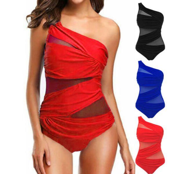 Nueva llegada Mujeres Sexy Traje de baño de un hombro Elegante Vendaje Traje de baño de una pieza Traje de baño Monokini Traje de baño push-up