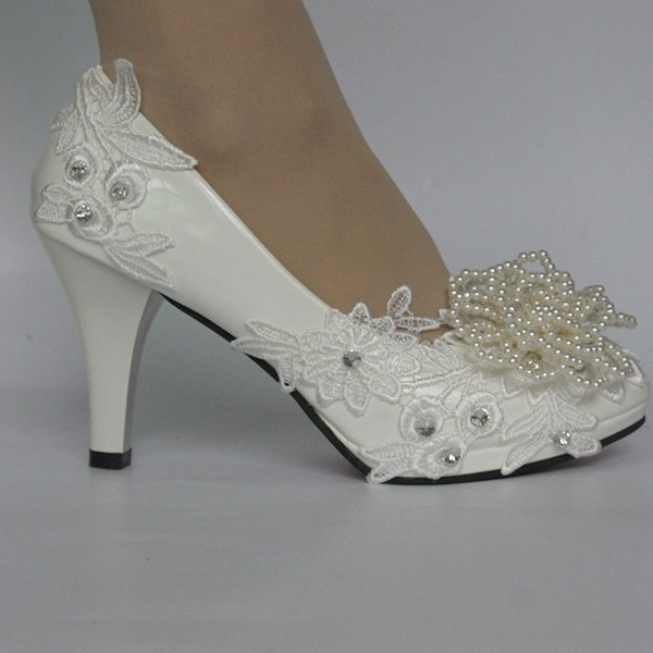 Hot Sell White Wedding Shoes Bridal Lace Pumps Party Pearls Dancing Shoes Heels Large Size Flat Shoes On Sale Flat Wedding Shoes For Bride From
