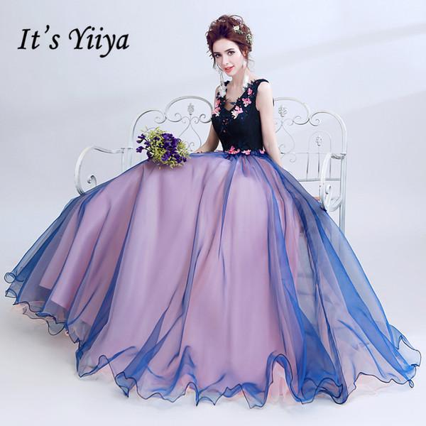 Это Yiiya V-образным вырезом без рукавов Синий Роскошные элегантные вечерние платья Известные дизайнерские аппликации Цветы Вечернее платье LX213