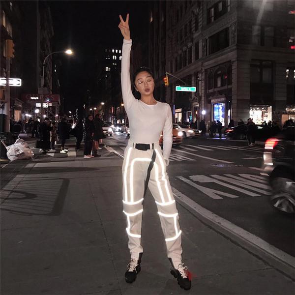 LAISIYI Hip Hop Streetwear femmes cargo Pantalons taille haute Pockets ruban Pantalon Femme en vrac toutes les sélections 2019 Nouveau Bas Mode