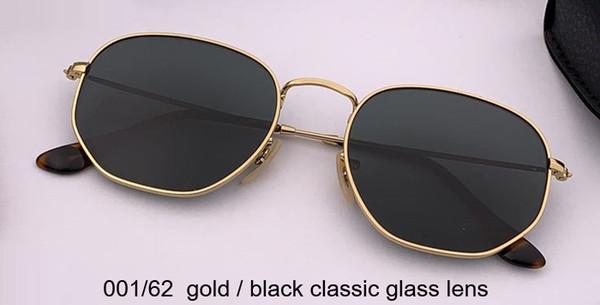 001/62 الذهب / عدسة زجاج كلاسيكية سوداء