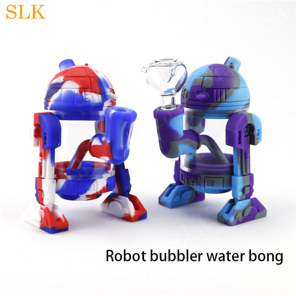 5.3 Inch Cool Design Robot Shape Glass Water Bong Oil Burner Tobacco Pipes Dab Rigs Pyrex Silicone Bongs Shisha Hookahs