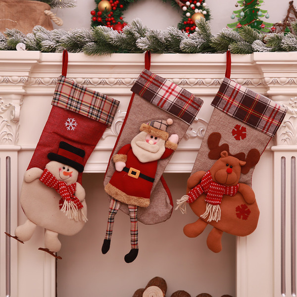 Hot Sale and Brand New Christmas Decoration Supplies Christmas Socks Tree Hanging a Children's Day Gift Candy Bag Wholesale Mall Dress Up