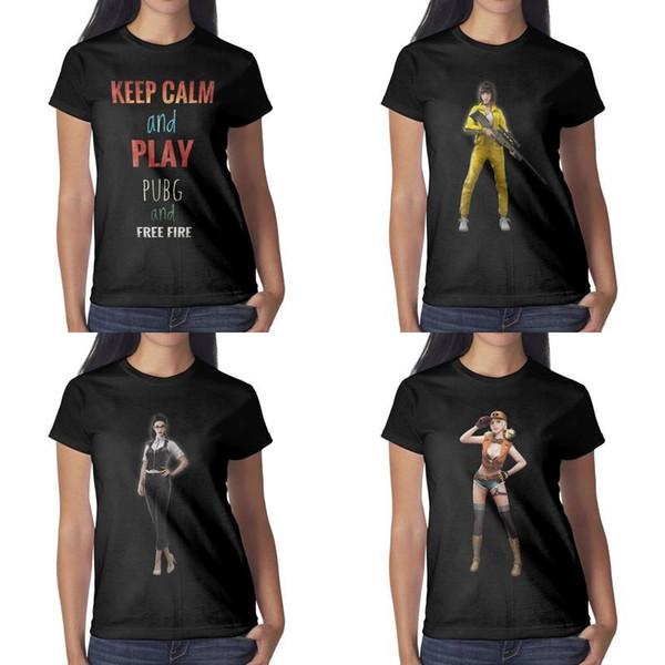 Impresión de diseño para mujer Free Fire Nikita Garena Character camiseta negra vintage personalizada hacer una banda camisetas hip hop shirt creator