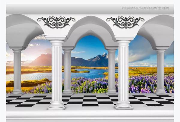 Customized 3D photo wallpaper silk material mural Roman column colonnade flower sea lake landscape 3d TV sofa background wall