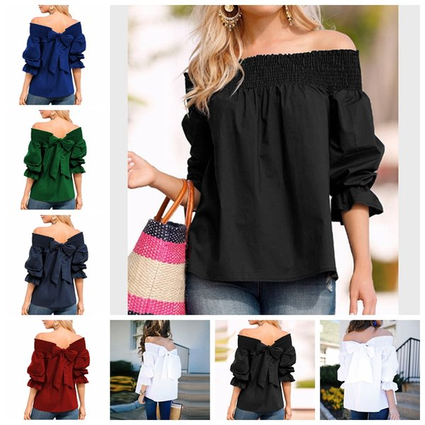 2019 European Spring and Summer Hot Sale Solid Color Sexy Word Bow Long Sleeve Casual T-Shirt Shirt, Support Mixed Batch