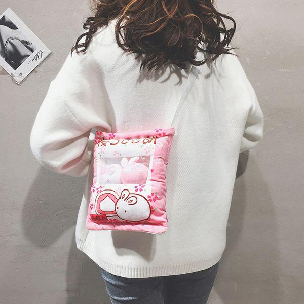 Creative Cartoon Plush Bunny Snack Bag Women Crossbody Bags Ladies Rherry Rabbit Messenger Bag Fun Purse Handbag Women Pouch New