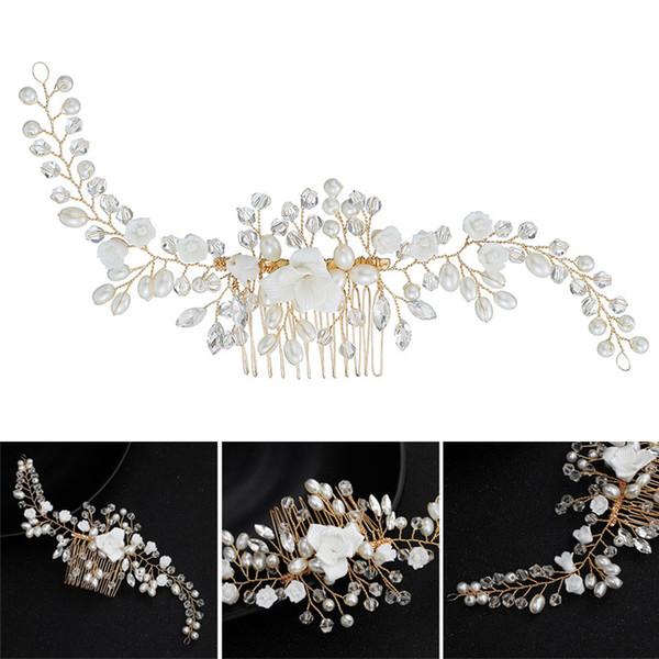 Strass Peigne perles d'imitation douce fleur Accessoires cheveux pour mariage mariée demoiselle d'honneur @ 88
