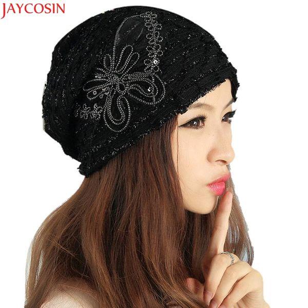 Jaycosin hat female wool pom poms Women's Winter hat Lace Butterfly Beanie Lady Skullies Turban Cap c114