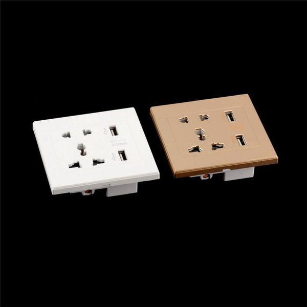 top popular Universal 2 USB Wall Socket AC 110-250V US UK EU AU Wall Socket 2 Port 5.0V 2.1A USB Outlet Power Charger for Cellphone*50pcs lot 2021