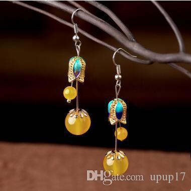 original Chinese yanyu Jiangnan ethnic style handmade agate women's earrings geometric antique earrings