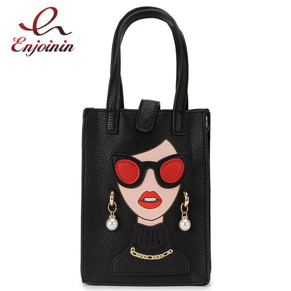 fashion pearl earrings woman character design pu young girl's handbag shoulder bag crossbody mini bag female bolsa totes