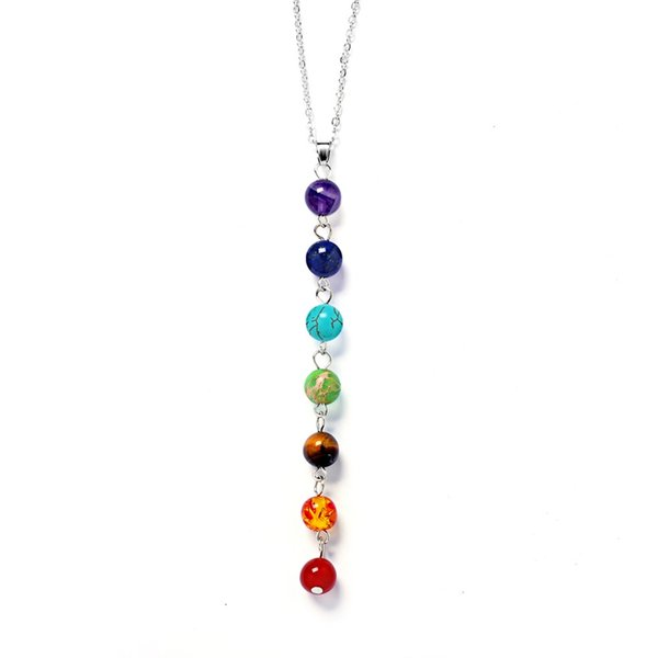 Emperor Stone Necklace Chain Seven Chakras Put Natural Amethyst Personality Pendant Necklace Good-Looking Style 4 Styles Choice