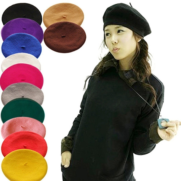 Hot Sell 2018 Cheap Fashion New Women Wool Solid Beret Female Bonnet Caps Winter All Matched Warm Walking Hat Cap 16 Color C18122501