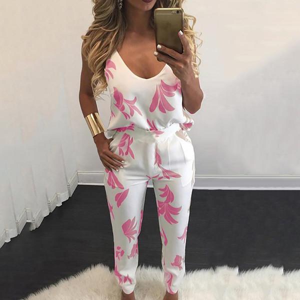 2019 nueva moda de verano de las mujeres traje casual conjuntos elegante impresa correa de espagueti Imprimir traje de pantalón