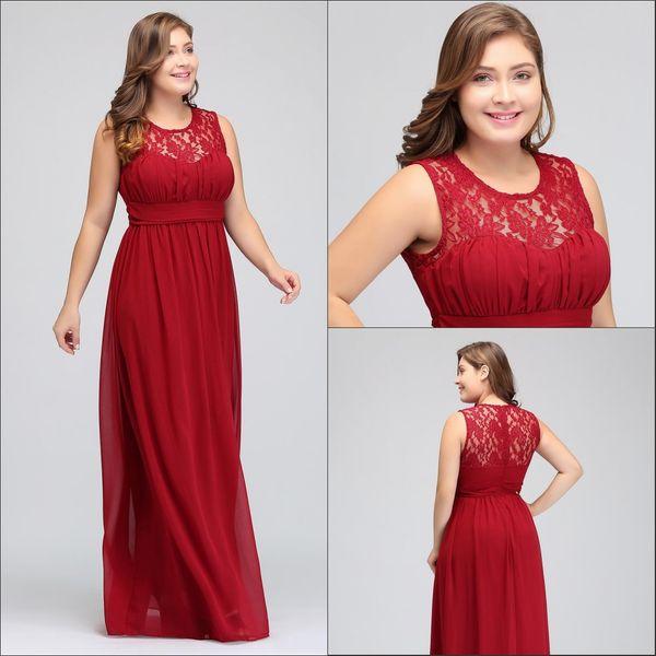 Plus Size Dark Crimson Bridesmaid Dresses Long Chiffon A Line Formal Dresses Plus Size Special Occasion Dresses Party Gowns Hy5039 After Six