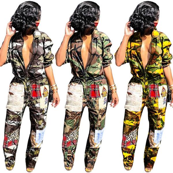 Camouflage 2019 Fashion Turn Down Collar Straight Tuta da donna Zip frontale Manica lunga Pagliaccetto Full Spring Stampa Splice Thin Overall