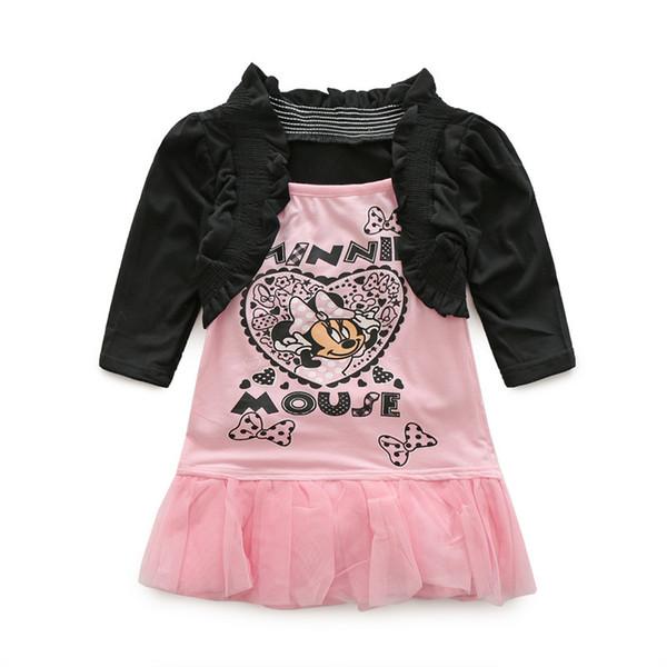 Baby girls set spring autumn infant long sleeve shawl cardigan+pink cartoon suspender dress kids clothes girls dress set