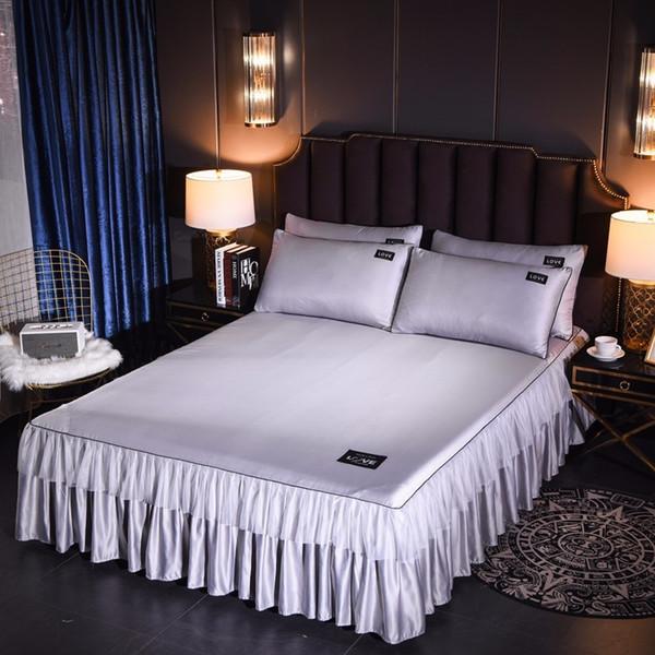 Korean Washed Silk Bedspread Bed Skirt Pillowcases Girls Bed Sheet Solid Mattress Cover Wedding Princess Bedding Home