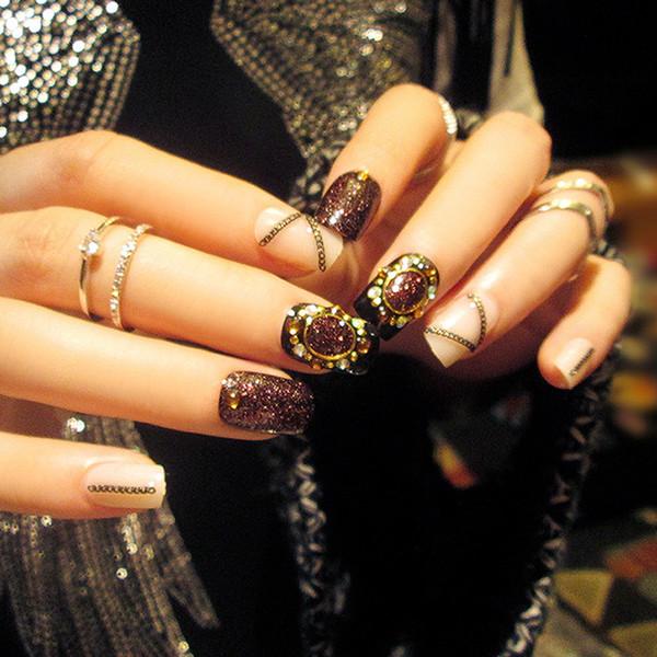 Manicure finished magazine Japanese glitter chain 24 L29 phototherapy nail acrylic toe french nail tips false nail