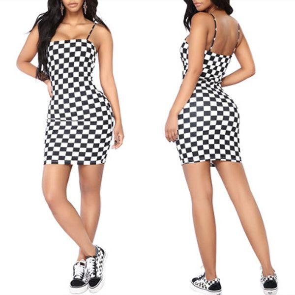 Vestido das mulheres 2019 verão nova moda cinta dress casual xadrez desgaste inferior saia simples impressão de camuflagem dress 4 estilos
