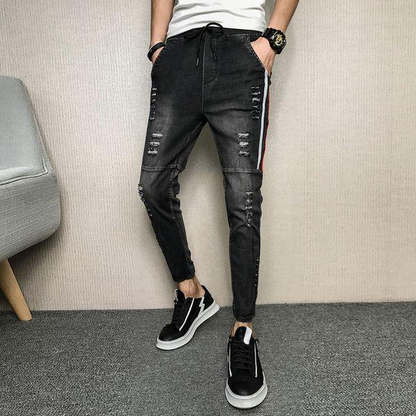 Frühling Jeans Herrenmode 2019 Zerrissene Jeans Für Männer Seitenstreifen Streetwear Lässige Dünne Männer Jeans Knöchellangen Grau Denim Hosen