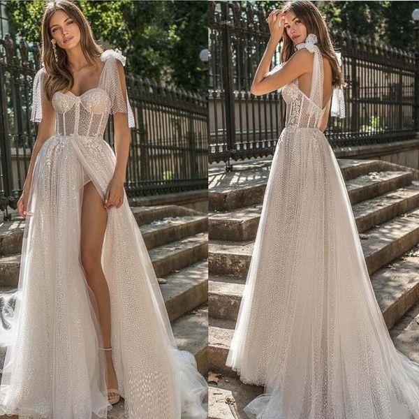 2019 Berta A Line Brautkleider Spaghetti Lace Glitter Side Split Sweep Zug Boho Hochzeitskleid Plus Size Garden Brautkleider