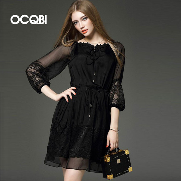 see through slash neck lace dress for women casual knee-length a-line dresses office work black lantern sleeve vestidos