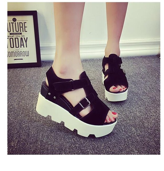 2019 Han edition new fashion sandals women sandals Waterproof Taiwan wedges platform buckles shoes free shipping