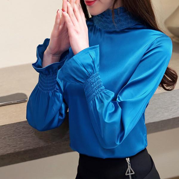 Chemisier en mousseline à la mode pour femmes Dentelle Patchwork Chemise solide Bureau Dames de bureau à col roulé à manches longues Blouse Tops Camisas Mujer