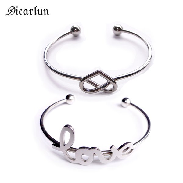 DICARLUN Wire Knotted Heart Bracelet Minimalist Femme Stainless Steel Open Cuff Bangle Bracelet Love Letters Jewelry for Women