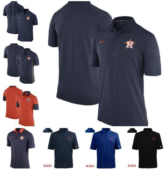 Nuovo stile Houston Astros uomini inizio stagione TeamIssue prestazioni Logo Polo in bianco e nero Red T-shirt