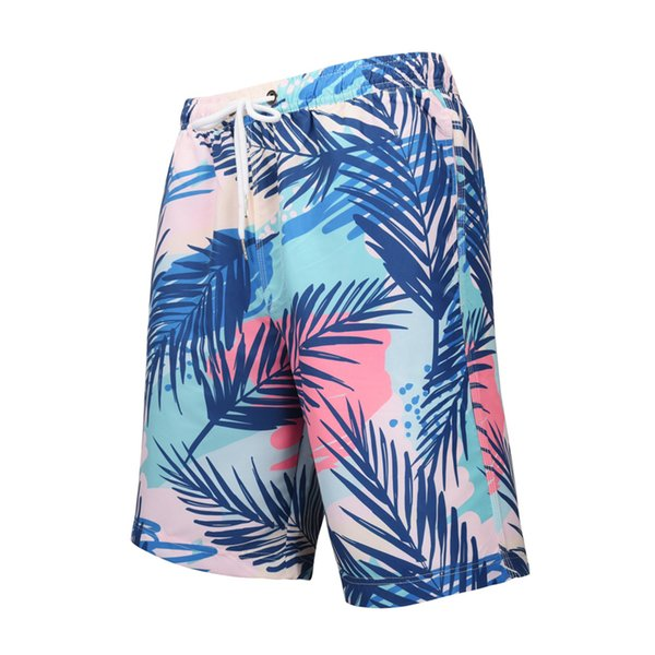 2019 New Large Size Mens Board Shorts Quick-dry Digital Printed Plant Leaves Vacation Beach Pants