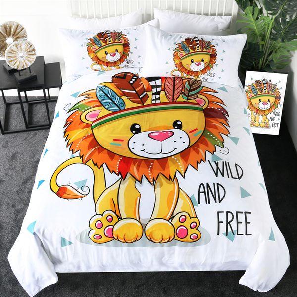 Lion Literie Queen Size Cartoon Housse de couette pour les enfants ados Tribal Lit Set animaux géométrique Linge de lit 3 pièces